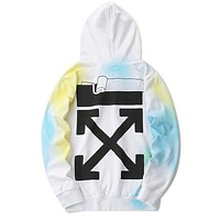 OFF WHITE Newest Popular Women Men Casual Render Long Sleeve Hoodie Sweater Top Sweatshirt