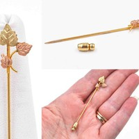 Vintage Black Hills Gold 10K Leaves Stickpin, Landstroms, Two Tone, Rose & Yellow Gold, Leaf Pin, Cravat Pin, Scarf Pin, Nice! #c604