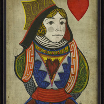 Playing Cards - Framed Edge - Queen of Hearts