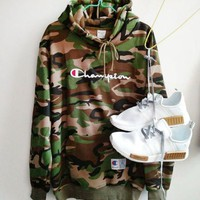 PEAPUF3 Champion Women Men Fashion letters embroidered drawstring hooded camouflage sweater G