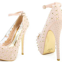 Zig Zag Trim Spikes And Studs Ankle Strap Pumps NUDE GOLD