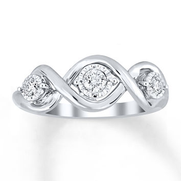 Diamond Ring 1/4 ct tw Round-cut 10K White Gold