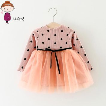 Newborn Toddler ing Baby Cute Girls Mesh Patchwork Dress Solid Color Bow Long-Sleeved Dot Infant Birthday Princess Dresses 0-2T