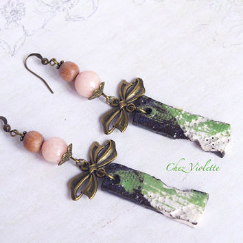Peach Bow earrings jade ceramic rose wood Cute jewelry