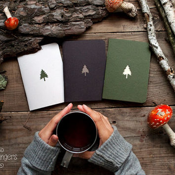 Forest notebook with a carved pattern - Spruce - set of 3 notebook (small size)