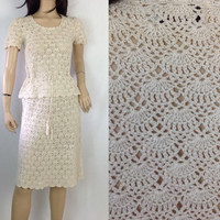 Crochet Dress Vintage 70s Dress Matching Set Top and Skirt Short Cream Dress Peplum Blouse Peplum Dress  S small