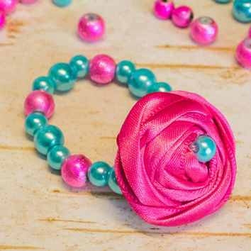 Rosette Pearl Bracelet, Glass Beaded Stretchy w fabric flower Neon Hot Pink Turquoise Aqua Bright Little Baby Girl Newborn photo prop infant