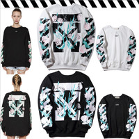 off-white:Fashion Print Floral Sport Top Sweater Sweatshirt Hoodie