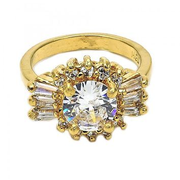 Gold Layered Mult-stone Ring, Baguette and Cluster Design, with Cubic Zirconia, Gold Tone