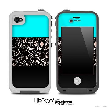 Three-Toned Turquoise Floral Laced Skin for the iPhone 5 or 4/4s LifeProof Case