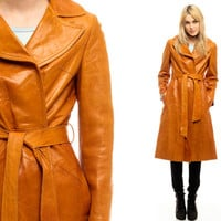 Leather Trench Coat Brown Leather Jacket PATCHWORK Coat 70s Boho Hippie Long Belted Mod 1970s Vintage Caramel Bohemian Small