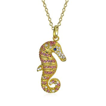 Nautical Seahorse Pendant Necklace Pink 14K Gold 925 Sterling Silver