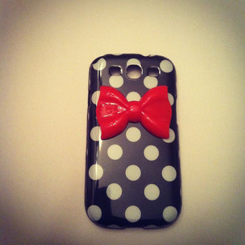 Samsung Galaxy S3 SIII Black & White Polka Dot with Red by VD5555