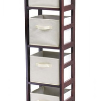"4 Basket Storage Shelf (Walnut/Beige) (55""H x 11.25""W x 13.5""D)"