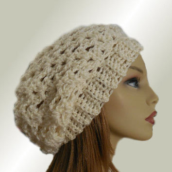 SLOUCHY Hat Crochet Knit Wool White Cream Slouchy Beanie Slouch Beany Vanilla Women Hats Accessories Teen Hat