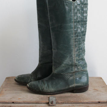 Vintage 70s Forest Green Distressed Leather Equestrian Boots | Women's 8