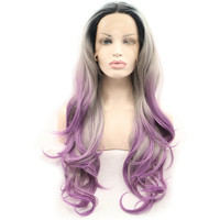 Lace Front Wig Synthetic Hairstyles Dark Roots Grey Purple Ombre