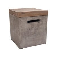 Midwest Side Table Waxed Concrete / Silver-Brushed Wood-tone