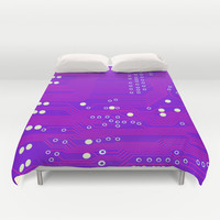 Pink Circuit Board Duvet Cover by House of Jennifer