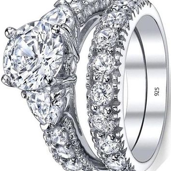 2.25 Carats Sterling Silver 925 Engagement Ring Set Bridal Rings With Cubic Zirconia CZ