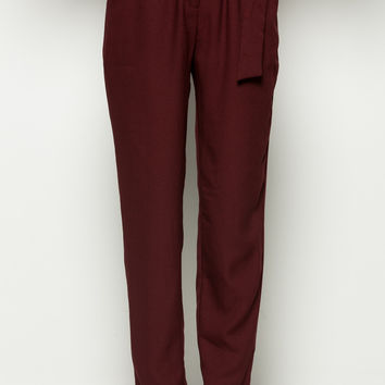 Burgundy High Waisted Pleated Trousers with Belt