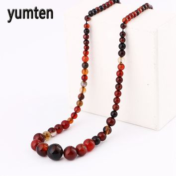 Natural Agate Amber stone moonstone Red coral necklace fashion women jewelry