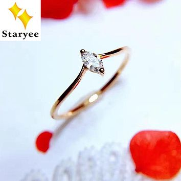 STARYEE Certified VS H 0.1CT Marquise Cut Natural Diamond Wedding Rings Band For Women 18K Au750 Yellow Gold Anniversary Jewelry