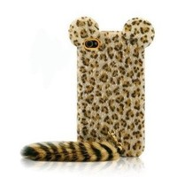 Leopard Print Iphone 4/4s Cases with Panther Tail: Cell Phones & Accessories