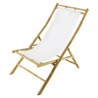 Outdoor Bamboo Relaxing Chair, White, Outdoor Club Chairs