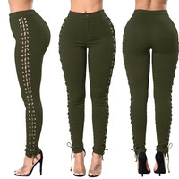 Lace Up Side Army Green High Waist Pants