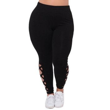 DCCKH6B Plus Size Women New Design Criss-Cross Hollow Out Leggings For Fitness L-5XL 2017 Sexy Fitness Autumn Black Legging Pants