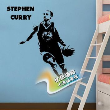 Free shipping diy vinyl basketball wall stickersThe golden state warriors star Stephen curry wallpaper  children room wall decor