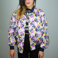 Vintage 1980s purple yellow oversize graphic geometric printed dolman sleeve cotton bomber jacket coat