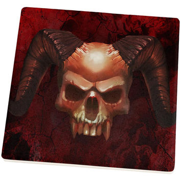 Halloween Horned Demon Skull From Hell Square Sandstone Coaster