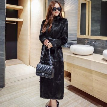 S-6XL New Fashion Women Long Trench Coat Faux Fur Overcoat female High Imitation Mink Fur Coat Women Winter Clothes