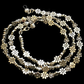 Handmade Silver Flowers Eyeglass Chain Holder