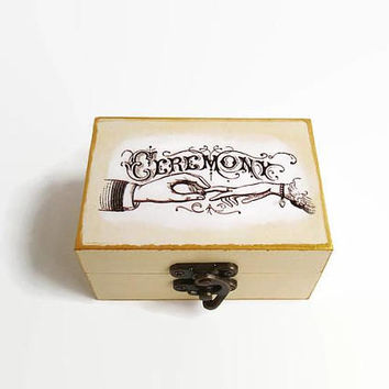 Cream box, Wedding Ring box, Marriage proposal, Wooden ring box, Wedding ceremony, A gift for newlyweds, Small box for rings, Wooden box