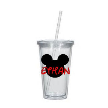 Mickey Mouse Monogram with Child's Name- Personalized Acrylic Tumbler,Party Favor, Mickey inspired Gift ,Disney Trip, Disney World, VACATION