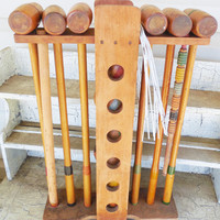6 Person Croquet Set, Outdoor Croquet Game, 6 Balls 6 Mallots, Vintage Outdoor Game, Other Props not included