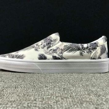 DCCKBWS Summer Newest Vans Floral Pattern Slip on Sneaker Casual Shoes
