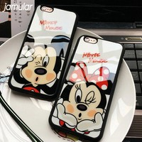 JAMULAR Cartoon Mickey Minnie Mouse Silicone Mirror Case For iphone 7 Plus 5s SE X Cases Cover For iphone 6 6s 7 8 Plus Cases