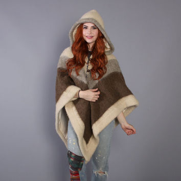 70s Neutral PONCHO CAPE / Soft Shaggy Icelandic Wool with HOOD