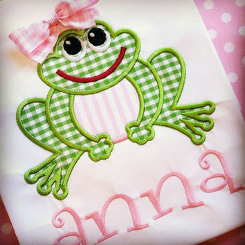 Girls frog shirt- ruffle spring summer- gingham polka dot- frog bow ribbon- cotton appliqué- monogram free- affordable cheap appliqué girls
