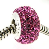 Sterling Silver Simulated October Birthstone Round Pink Crystal European Style Bead Charm