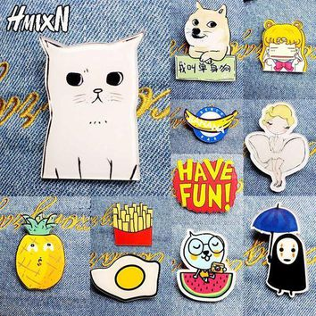 ac PEAPO2Q 2017 New Acrylic Brooches Pins Figure Simpson Fruit cartoon jewelry cute dog cat Broche shirt enamel pin