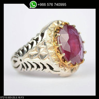 Red Ruby Ring Sterling Silver Persian Antique Design Genuine Gemstone Size 11.5 (Re-sizing is available for free)