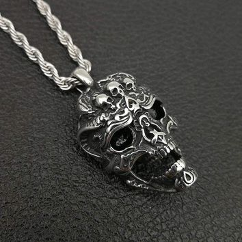 Skull Pendant Necklace Stainless Steel Retro Silver Color Mens Skull Necklace Punk/Gothic Necklace Halloween Gift