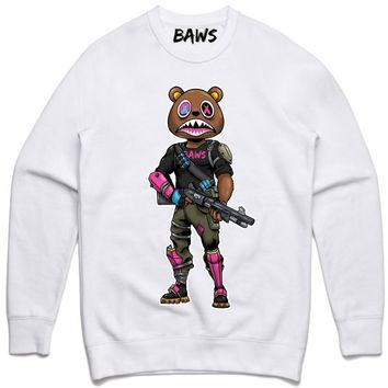 SWAT BAWS White Crewneck Sweater