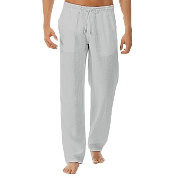 Linen Pants Trousers Mens Summer Casual Elastic Waist Loose Male Solid Straight Pants