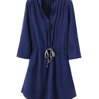 Navy Blue Long Sleeve Dress with Drawstrings